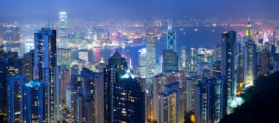 Panoramic view of Hong Kong bay at night, Hong Kong, China Fotomurales