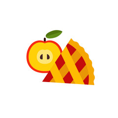 Icon of apple pie slice with fruit. Sweet food, thanksgiving pie, homemade pie. Dessert concept. Can be used for topics like food, pastry, gourmet