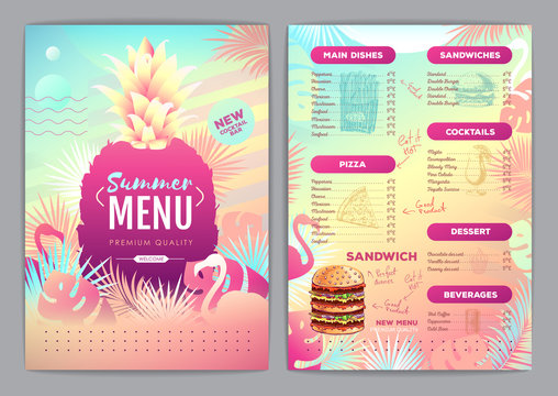 Restaurant summer tropical gradient menu design with fluorescent tropic leaves and flamingo. Fast food menu