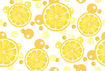 Pattern with citrus. Watercolor lemon with circles. Suitable for curtains, wallpaper, fabrics, wrapping paper.