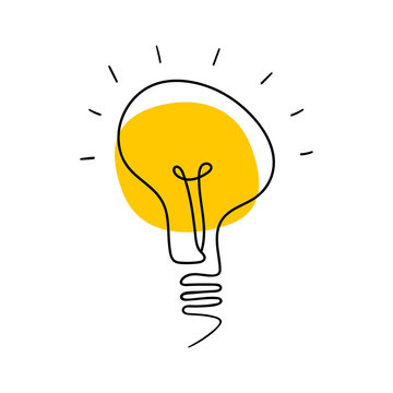 Light bulb hand drawn icon. Simple object isolated on white background. Vector illustration.