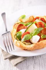 quiche with mozzarella and basil quiche
