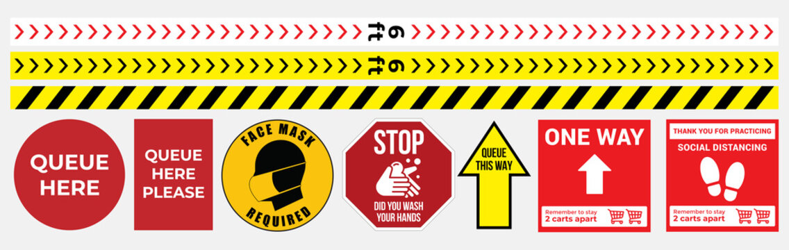 Collection of Social distancing graphic signs to use in the public queue in vector format