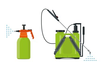 Garden manual plastic sprayer, manual and knapsack. Weed killers and crop performance material. Pest chemicals. - fototapety na wymiar