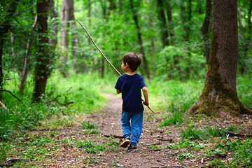 Kid in the forest