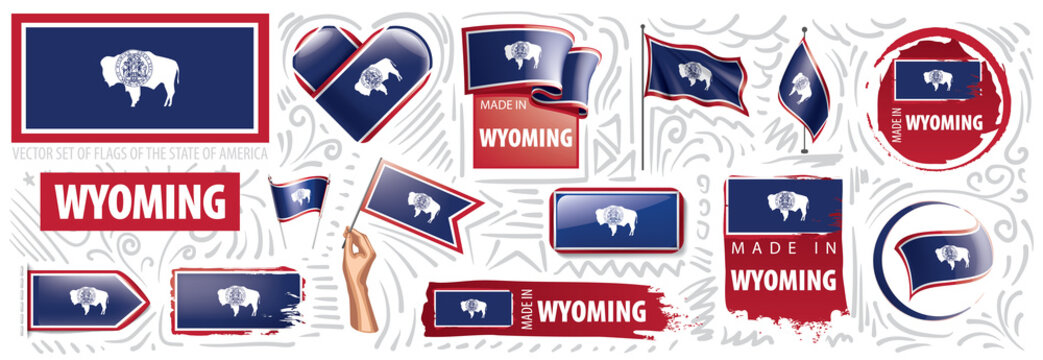 Vector set of flags of the American state of Wyoming in different designs