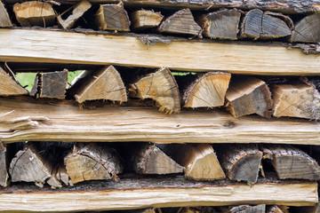 Wood logs prepared to dry