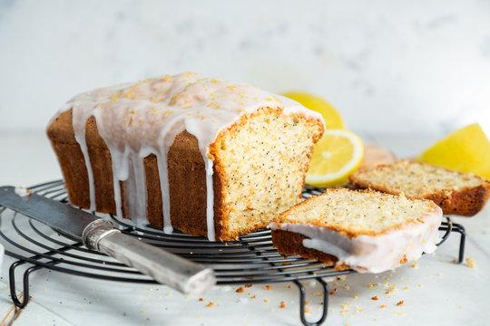 Glazed lemon pound cake loaf with poppy seed
