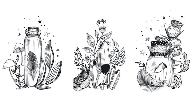 Vector collection of mystical magic boho composition isolated on white.