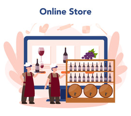Wine maker online service or platform. Man wearing his apron