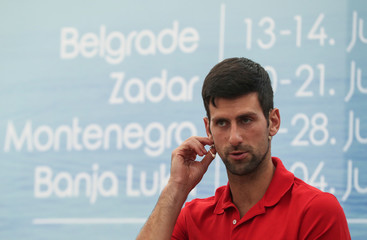 World number one tennis player Novak Djokovic holds a news conference, in Belgrade