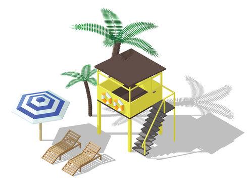 Vector isometric lifeguard tower, beach umbrella and deckchair.