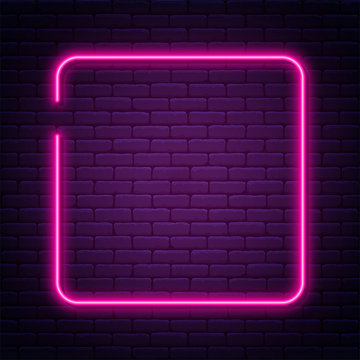 Neon sign in square shape. Bright neon light, illuminated square frame. Glowing purple neon tube on dark background. Signboard or banner template in 80s and 90s style