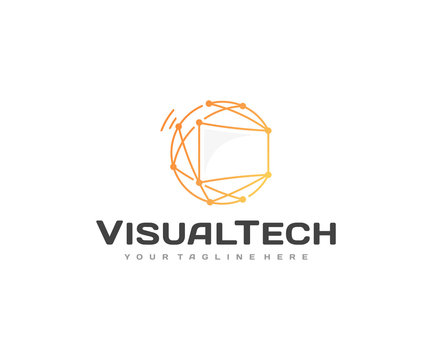 Audio visual system logo design. Screen and circuit network vector design. Video technology logotype