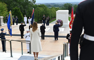 U.S. President Donald Trump visits Arlington National Cemetery on Memorial Day in Washington