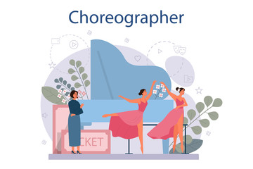 Dance teacher or choreographer in dance studio. Dancing courses