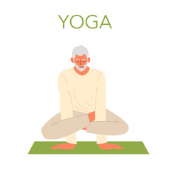 Old man doing yoga. Asana or exercise for senior. Physical and mental