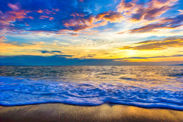 Fototapete - A Colorful Ocean Sunset Landscape as a Wave Comes to the Beach Shore