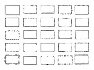 Doodle frames. Sketched hand drawn square shapes in different styles borders and photo frames vector set. Frame square scribble, sketch drawing photo gallery illustration Fotobehang