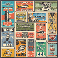 Fishing sport equipment and items vector posters. Fisherman tournament, boat and canoe rental service. Professional fishing sport, tackle and bobber, fishing rod, camping equipment, fish and bowls