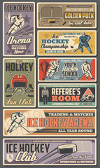 Ice hockey retro posters, vector sport team players with sticks, pucks and winner trophy cup. Referee on rink, skates and goalie mask, goal gate, uniform and helmet. Championship, hockey club banners