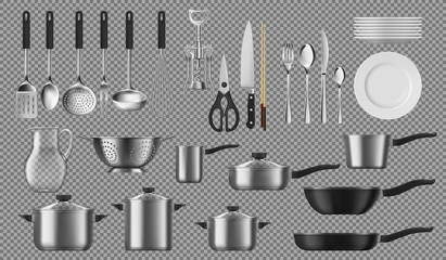 Spoed Fotobehang Hoogte schaal Kitchenware and tableware, dishware and crockery vector cooking set. Isolated tableware plates, cookware pots, ladle and skimmer, silver fork and spoon. Corkscrew, colander and pitcher, saucepans