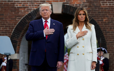 U.S. President Donald Trump visits Fort McHenry on Memorial Day in Washington