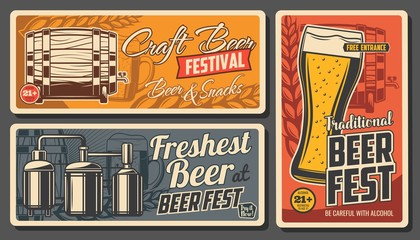Craft beer and snacks vector posters. Glass cup with foamy drink, wooden barrel, malt ears and brewery. Alcohol drinks age restriction, craft beer fest, beerhouse tavern, pub vintage cards