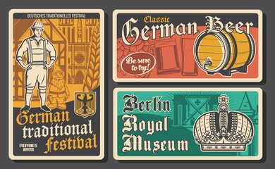 Germany travel retro vector posters. Tour to Berlin, fachwerk houses, bavarian peasant and dwarf, beer festival and museum emperor crown. Traveling agency service, historic tradition