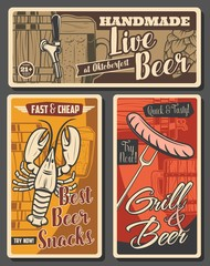 Beer brewing and snacks, brewery retro vector posters. Wooden barrel with tap, tankard and wood pints with foam, hop. Craft beer brewery, crayfish and sausages snack fest, beerhouse tavern