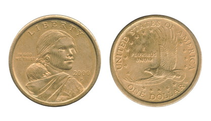 Sacagawea one dollar coin of the United States isolated on a white background. Obverse and reverse.