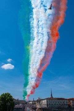 Acrobatic air performance of Tricolour arrows (Frecce tricolori) over Turin, Italy
