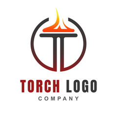 Torch logo icon design template with burning flame fire shape. Light blaze symbol of Victory, liberty, spirit, and passion. Vector illustration for element sport event, olympic game, ceremony, award.