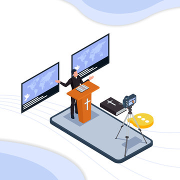 Pastor do online worship on mobile phone technology. Isometric worship service illustration concept. Vector