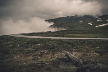 Wall Mural - Foggy and Cloudy Norwegian Raw Landscape