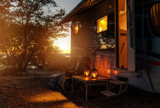 RV Camper Van Camping Warm Night