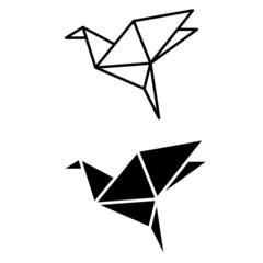 Origami bird vector icon set. animal illustration sign collection. asian symbol. dove logo.