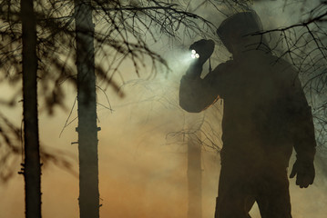 Wall Mural - Men with Flashlight During Forest Wildfire Rescue Mission