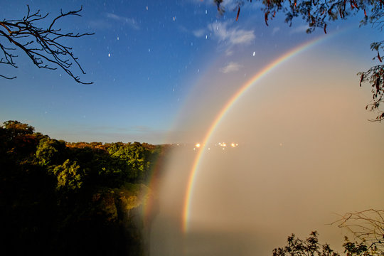Moonbow in Victoria Falls in Zambia