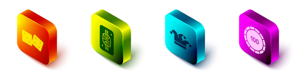 Set Isometric Game dice, King playing card with diamonds, Joker playing card and Casino chips icon. Vector.