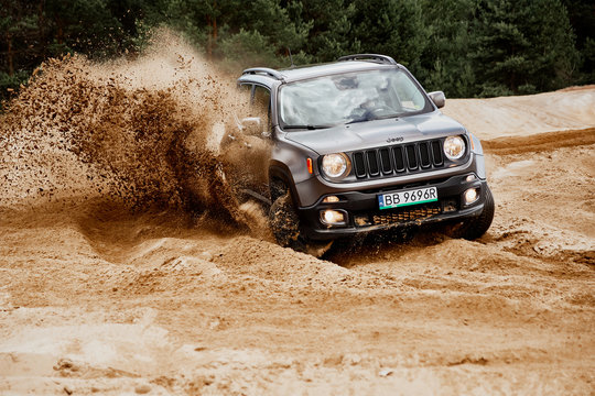 Siedlce Desert / Poland - 07.02.2017 : Fun in the desert with a 4x4 car. Jeep Renegade is doing great in the slushy sand.