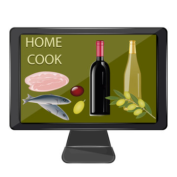 Online kitchen. Wine bottles, fish, meat, olives - vector. Cook together. Exclusive dishes. Gourmet. Home cook.