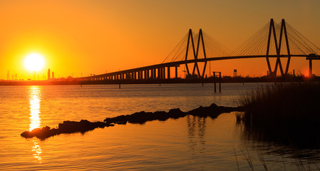 Foto op Canvas Bruggen This beautifully designed bridge connects La Porte Texas to Baytown Texas with it's strength and grace.