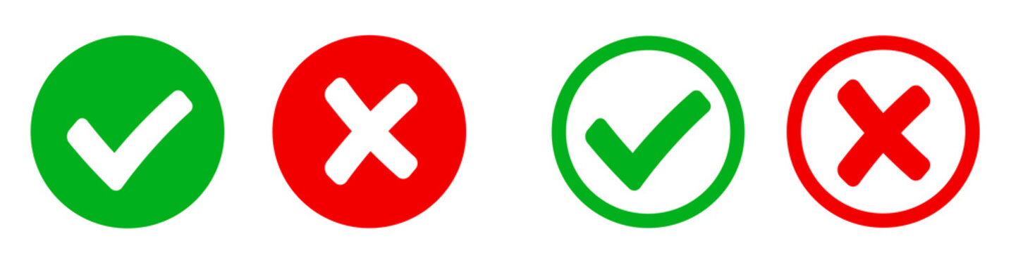 Check mark and X mark icon. Checkmark and x mark icon for apps and websites. Green and red check mark icon on white background - stock vector.