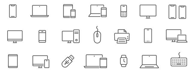 Device and technology line icon set. Electronic devices and gadgets, computer, equipment and electronics. Computer monitor, smartphone, tablet and laptop sumbol collection - stock vector.