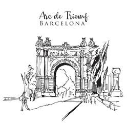 Drawing sketch illustration of the Arc de Triomf