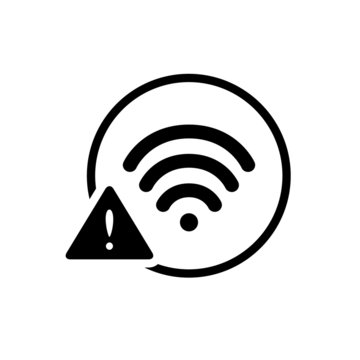 Black round wifi warning with caution sign / icon, simple technology infographic concept, flat design pictogram vector app logo web banner button ui ux interface elements isolated on white background