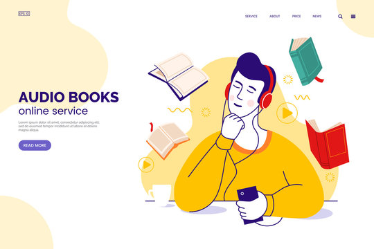 Audiobook service web page concept. Character in headphones listens to audio books from a smartphone. Internet library. Learning foreign languages. Online education. Vector illustration in flat style.