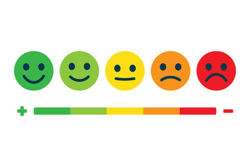 Rating feedback scale. Emotion rating feedback opinion positive or negative.