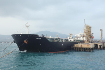 "The Iranian tanker ship ""Fortune"" is seen at El Palito refinery dock in Puerto Cabello"